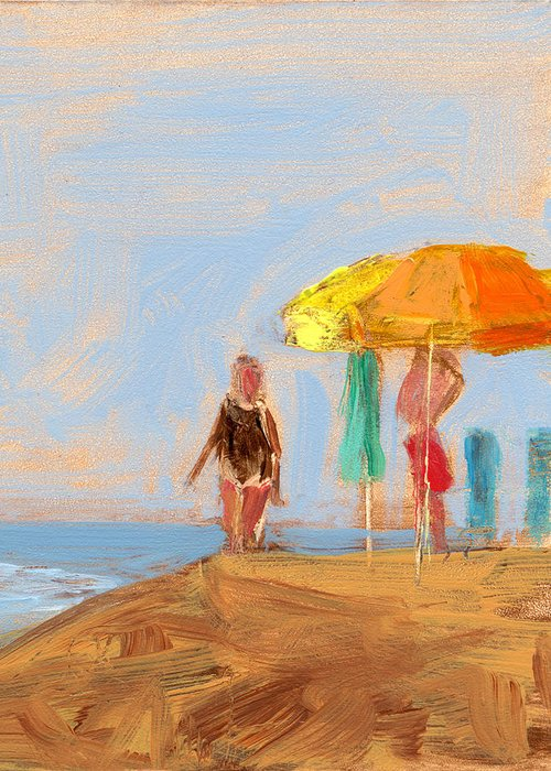 Beach Greeting Card featuring the painting Rcnpaintings.com by Chris N Rohrbach