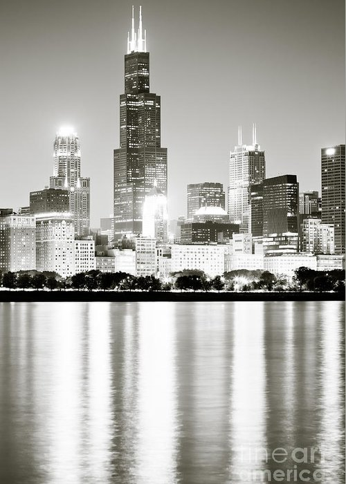 America Greeting Card featuring the photograph Chicago Skyline At Night by Paul Velgos