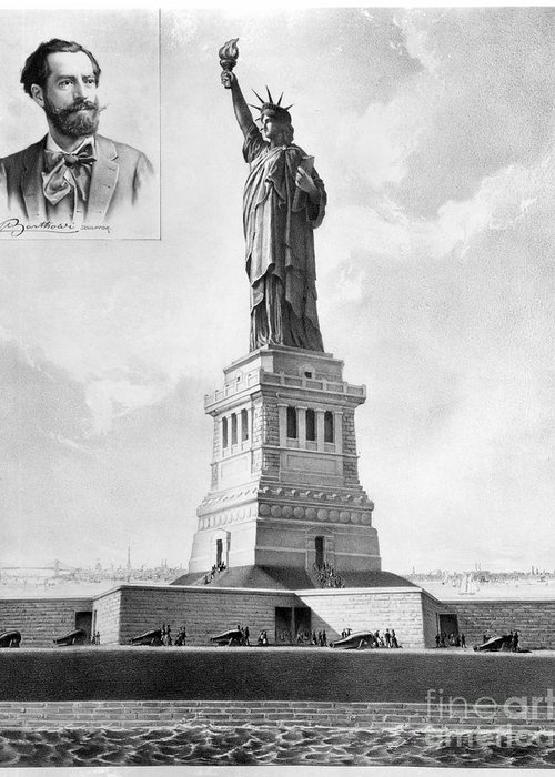 1886 Greeting Card featuring the photograph Statue Of Liberty, 1886 by Granger