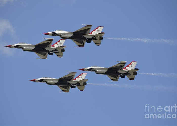 Squadron Greeting Card featuring the photograph The U.s. Air Force Thunderbirds Fly by Stocktrek Images