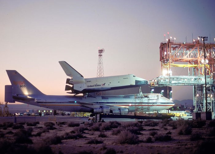 Space Greeting Card featuring the photograph 747 With Space Shuttle Enterprise Before Alt-4 by Brian Lockett