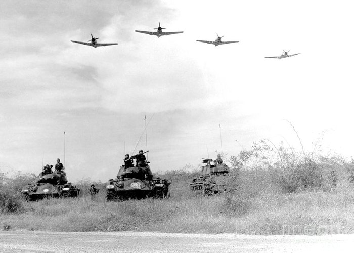 Wwii Greeting Card featuring the photograph A-1h Aircraft Make A Low Level Pass by Stocktrek Images