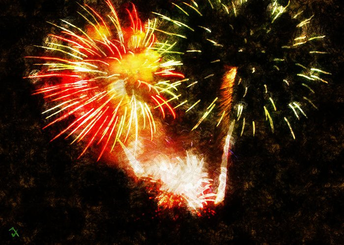 Fireworks Greeting Card featuring the painting A 4th Celebration by Adam Vance