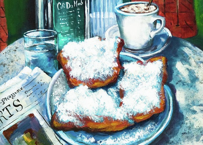 New Orleans Art Greeting Card featuring the painting A Beignet Morning by Dianne Parks