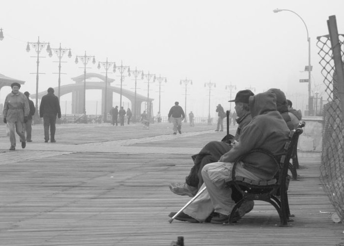 Coney Island Greeting Card featuring the photograph A Bench At Coney Island by Peter Aiello
