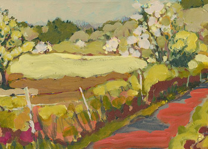Landscape Greeting Card featuring the painting A Bend In The Road by Jennifer Lommers