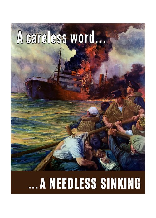 Navy Greeting Card featuring the painting A Careless Word A Needless Sinking by War Is Hell Store