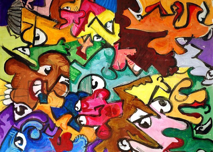 Eye Greeting Card featuring the painting A Face In The Crowd by Jame Hayes