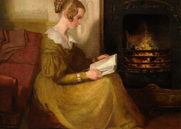 A Fireside Read Greeting Card featuring the painting A Fireside Read by William Mulready