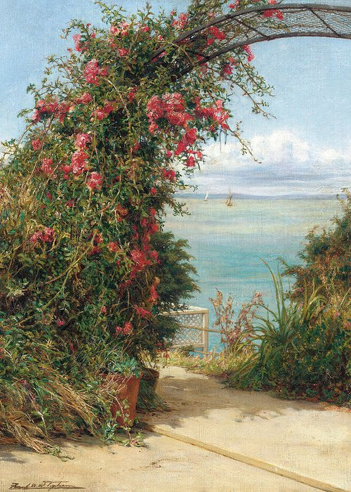 A Garden By The Sea (oil On Canvas) Landscape; Arch; Bower; Arch; Roses; Climbing; Pink; View; Seascape; Sea Greeting Card featuring the painting A Garden By The Sea by Frank Topham