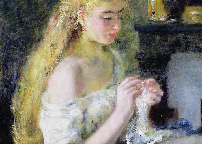 Pierre Auguste Renoir Greeting Card featuring the painting A Girl Crocheting by Pierre Auguste Renoir