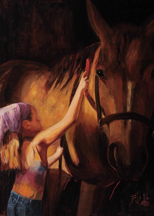 Young Girl With Horse Greeting Card featuring the painting A Girls First Love by Billie Colson
