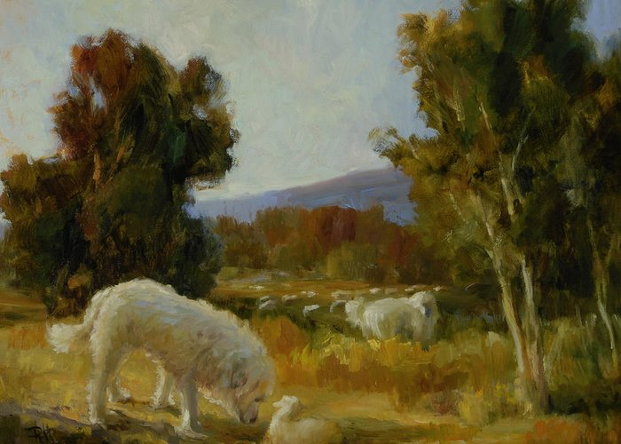 Great Pyrenees Greeting Card featuring the painting A Great Pyrenees With A Lamb by Lilli Pell