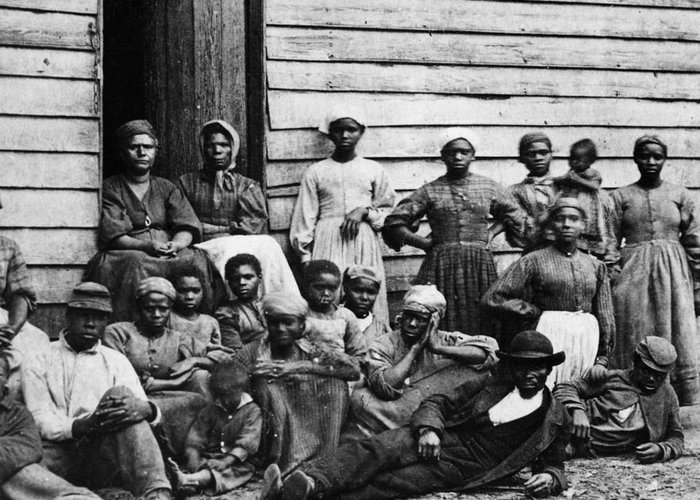Slavery Greeting Card featuring the photograph A Group Of Slaves by Photo Researchers