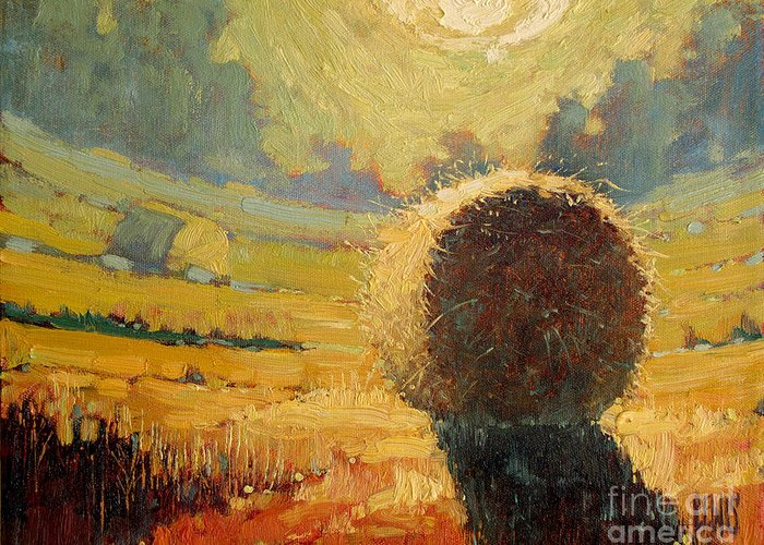 Hay Greeting Card featuring the painting A Hay Bale In The French Countryside by Robert Lewis