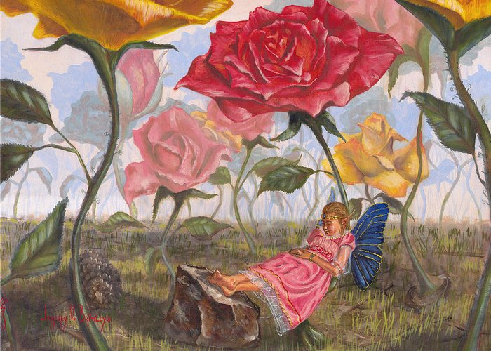 Fairy Greeting Card featuring the painting A Little Nap by Jeff Brimley