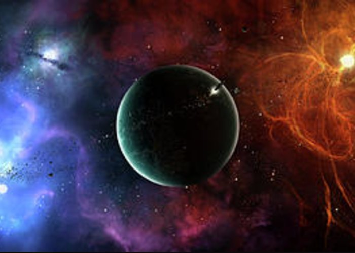 Artwork Greeting Card featuring the digital art A Massive And Crowded Universe by Brian Christensen