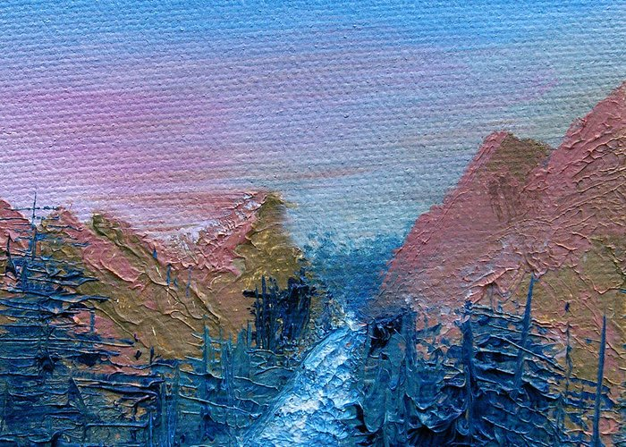 Canyon Greeting Card featuring the painting A Mighty River Canyon by Jera Sky