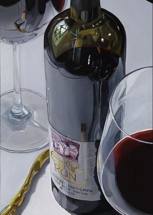 Wine Art Greeting Card featuring the painting A Moment Of Reflection by Brien Cole