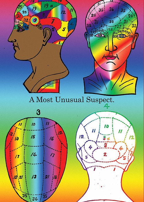 Head Greeting Card featuring the digital art A Most Unusual Suspect by Eric Edelman