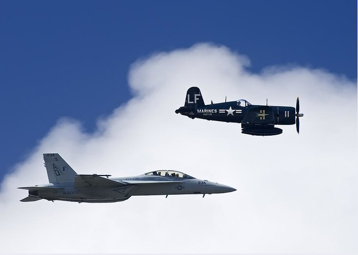 Outdoors Greeting Card featuring the photograph A Navy F-18 And A Wwii Vintage F4u by Medford Taylor