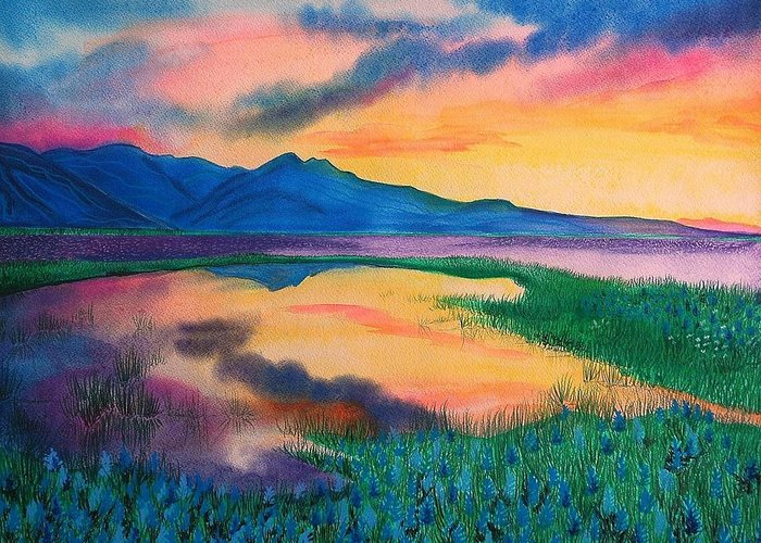 Landscape Greeting Card featuring the painting A New Beginning by Ramneek Narang