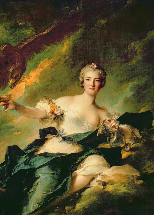 Portrait Greeting Card featuring the painting A Portrait Of Anne Josephe Bonnnier De La Mossau by Jean Marc Nattier