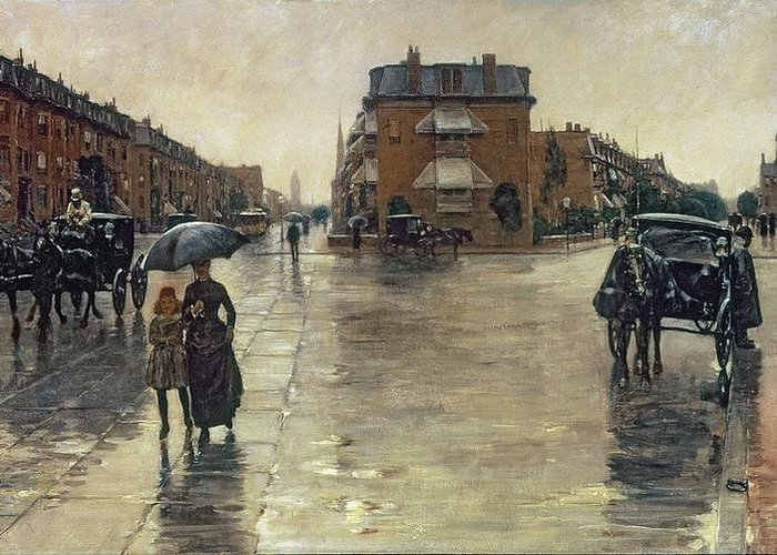 Rainy Greeting Card featuring the painting A Rainy Day In Boston by Childe Hassam