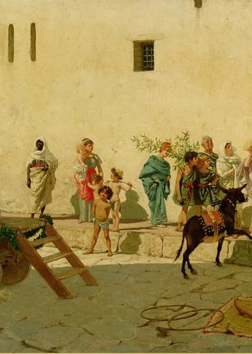 A Roman Street Scene With Musicians And A Performing Monkey Greeting Card featuring the painting A Roman Street Scene With Musicians And A Performing Monkey by Modesto Faustini