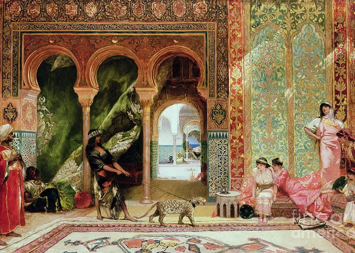 Royal Greeting Card featuring the painting A Royal Palace In Morocco by Benjamin Jean Joseph Constant