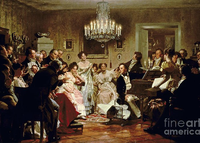 A Schubert Evening In A Vienna Salon By Julius Schmid (1854-1935) Greeting Card featuring the painting A Schubert Evening In A Vienna Salon by Julius Schmid