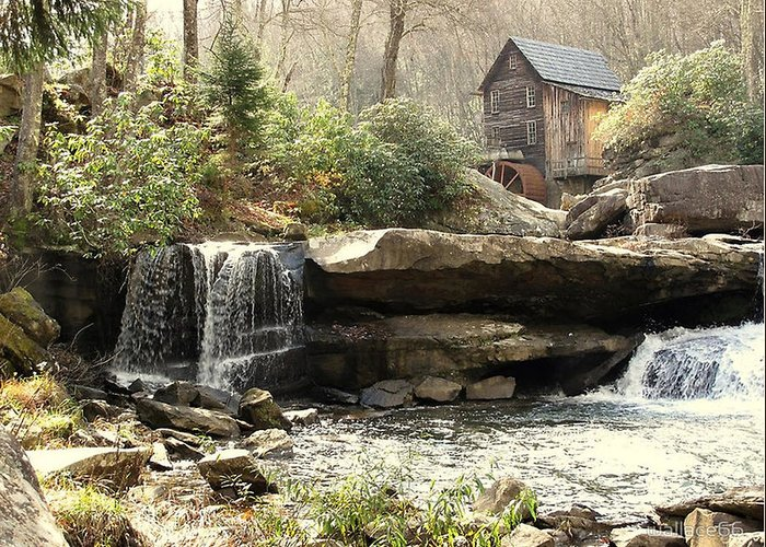 Grist Mill Also Known As A Feed Mill Greeting Card featuring the photograph A Simple Place And Time by Wallace Marshall
