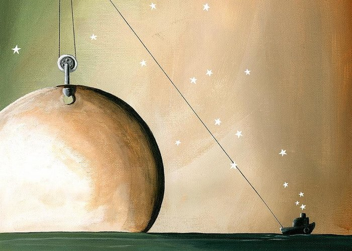 Moon Greeting Card featuring the painting A Solar System by Cindy Thornton