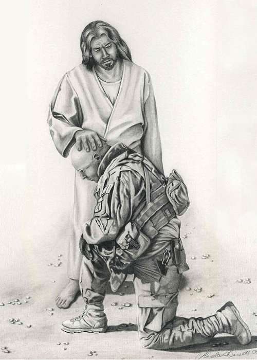Prayer Greeting Card featuring the drawing A Soldier's Prayer by Linda Bissett