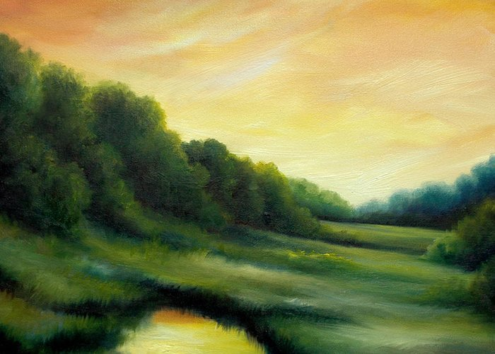 Clouds Greeting Card featuring the painting A Spring Evening Part Two by James Christopher Hill