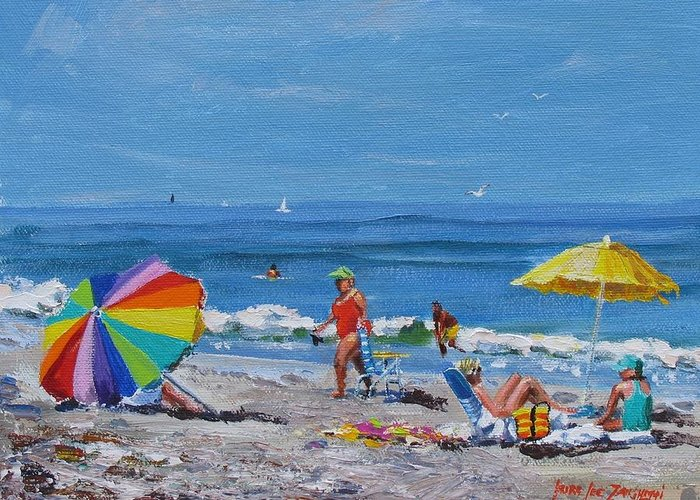 Beach Scene Greeting Card featuring the painting A Summer by Laura Lee Zanghetti