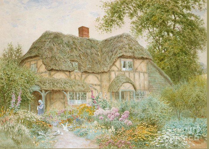 A Surrey Cottage (w/c) By Arthur Claude Strachan (1865-1935) Greeting Card featuring the painting A Surrey Cottage by Arthur Claude Strachan