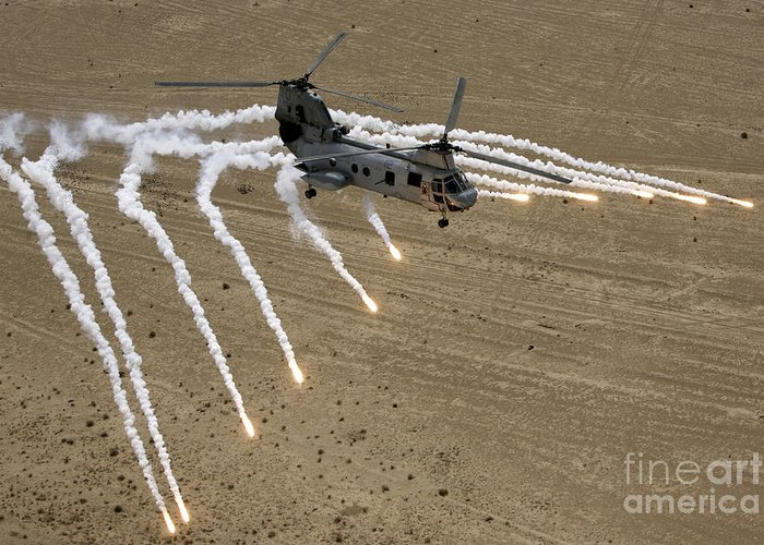 Operation Iraqi Freedom Greeting Card featuring the photograph A U.s. Marine Corps Ch-46 Sea Knight by Stocktrek Images
