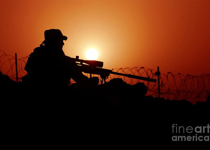 Firearms Greeting Card featuring the photograph A U.s. Special Forces Soldier Armed by Stocktrek Images