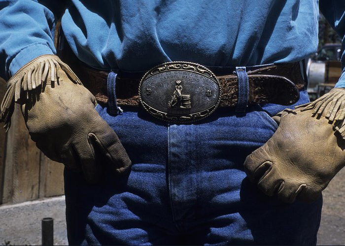 Belts Buckles Clothing Pants Support Leather Carved Carving Carve Illustrate Western Attire Jeans Fringe Decoration Rodeo Barrel Racing Races Competition Compete Cowboy Cowboys Colorado Telluride America American Prizes Win Winnings Award Horses Cows Fashion Accessory Trousers Southwest Americana Genuine Original Working Greeting Card featuring the photograph A View Of A Cowboys Prized Possesion by Taylor S. Kennedy