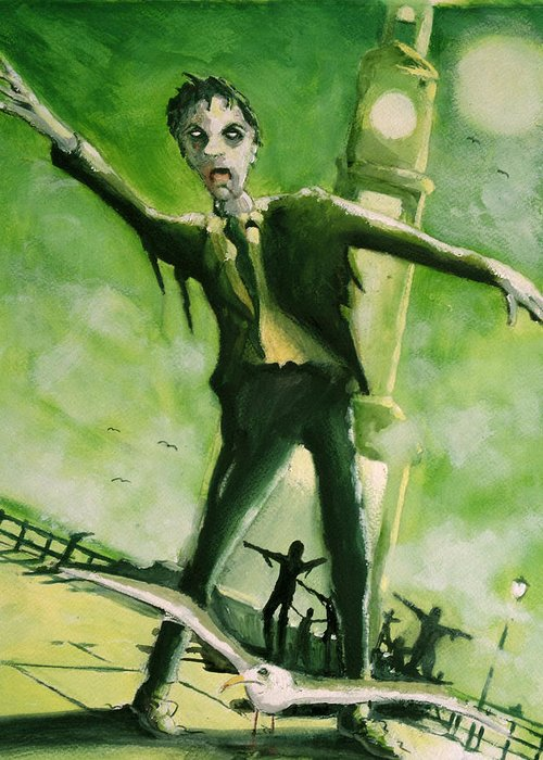 Horror Greeting Card featuring the painting A Zombie In Herne Bay by Paul Mitchell