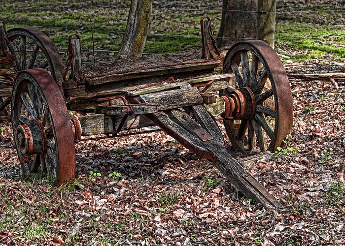 Rustic Greeting Card featuring the photograph Abandoned Wagon by Tom Mc Nemar