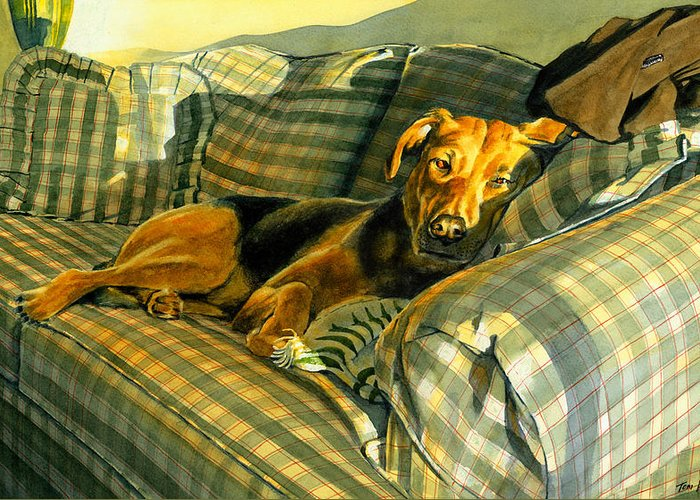 Dog Greeting Card featuring the painting Abby by Tom Hedderich