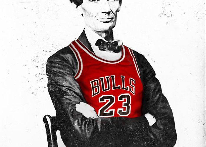 Michael Jordan Greeting Card featuring the drawing Abe Lincoln In A Bulls Jersey by Roly Orihuela