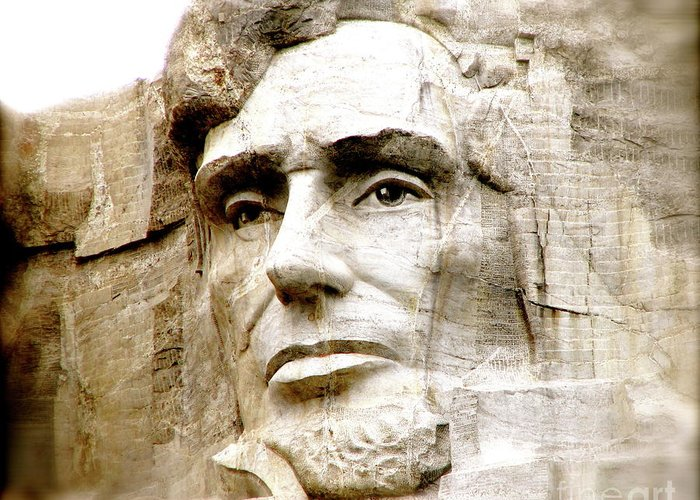 Mt Rushmore Abe Lincoln President Monument Slavery Emancipation Proclamation Greeting Card featuring the photograph Abe by Nancy TeWinkel Lauren