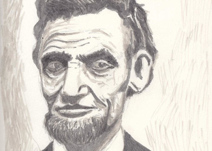 Abraham Greeting Card featuring the drawing Abraham by Jim Valentine