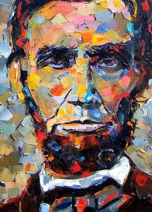 President Greeting Card featuring the painting Abraham Lincoln Portrait by Debra Hurd
