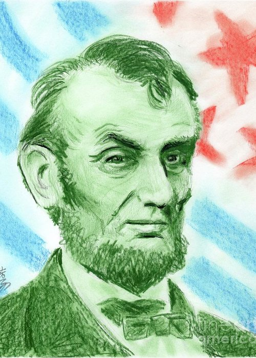 Abraham Lincoln Greeting Card featuring the drawing Abraham Lincoln by Yoshiko Mishina
