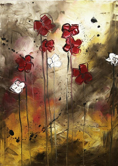 Abstract Greeting Card featuring the painting Abstract Art Original Flower Painting Floral Arrangement By Madart by Megan Duncanson