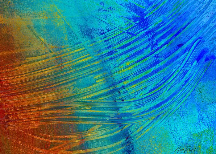Abstract Greeting Card featuring the painting Abstract Art Painting Freefall By Ann Powell by Ann Powell